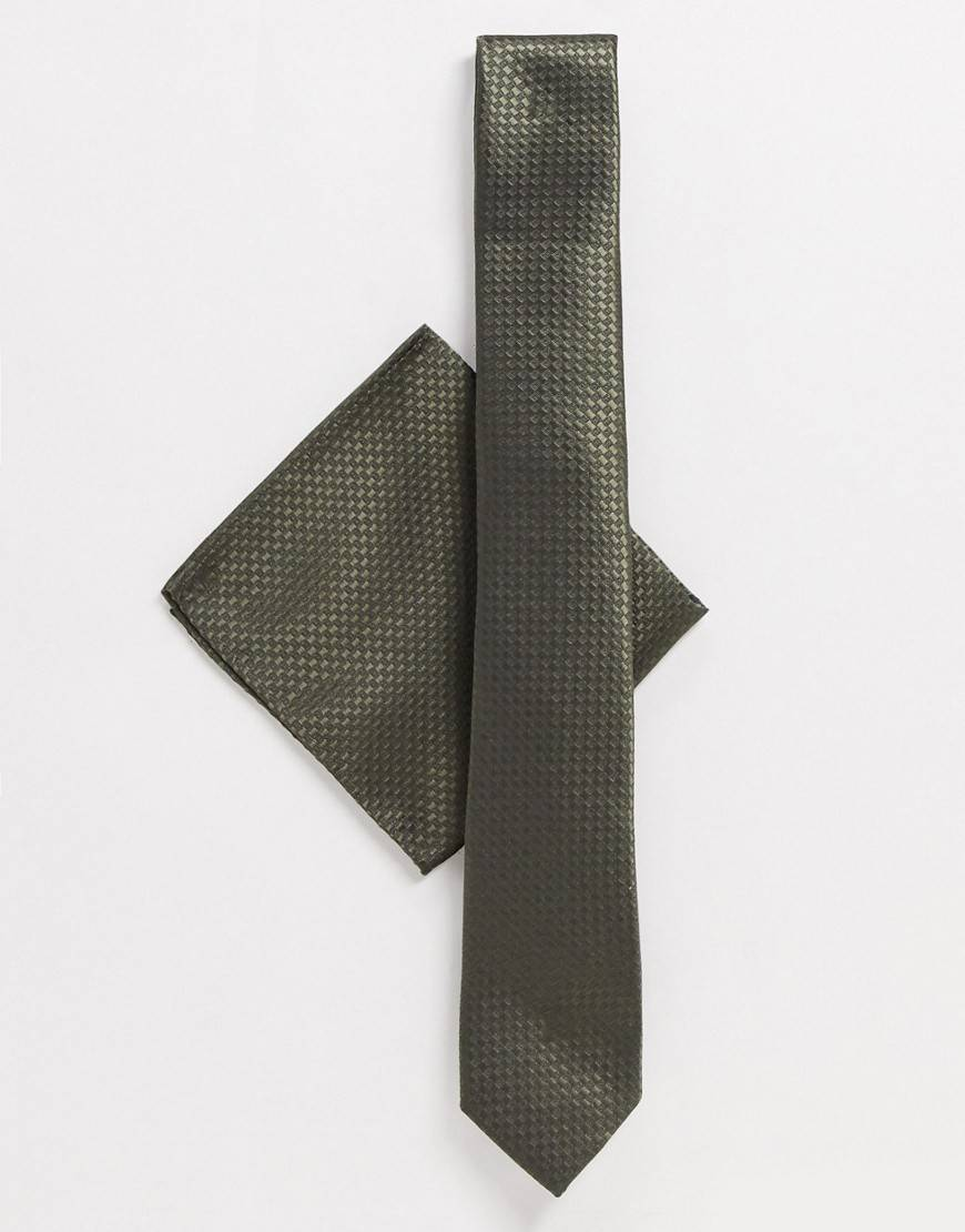 Harry Brown plain tie and pocket square set-Green  - Green - Size: One Size