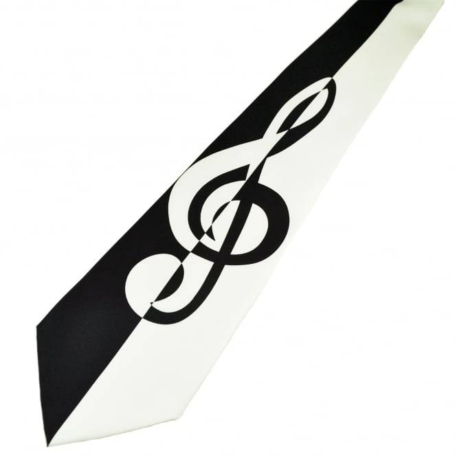 Black & White Treble Clef Music Silk Novelty Tie