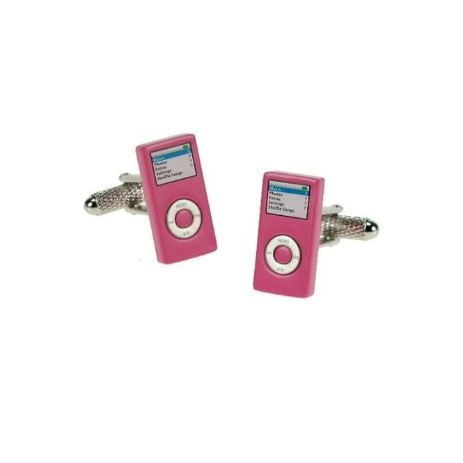 Music Player Novelty Cufflinks - Pink