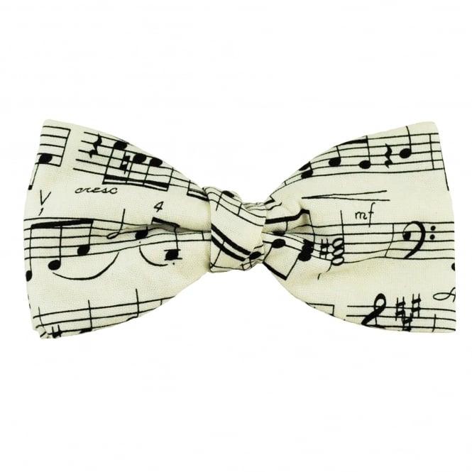 Van Buck White & Black Sheet Music Novelty Bow Tie