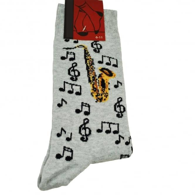 Saxophone & Music Notes Grey Men's Novelty Socks