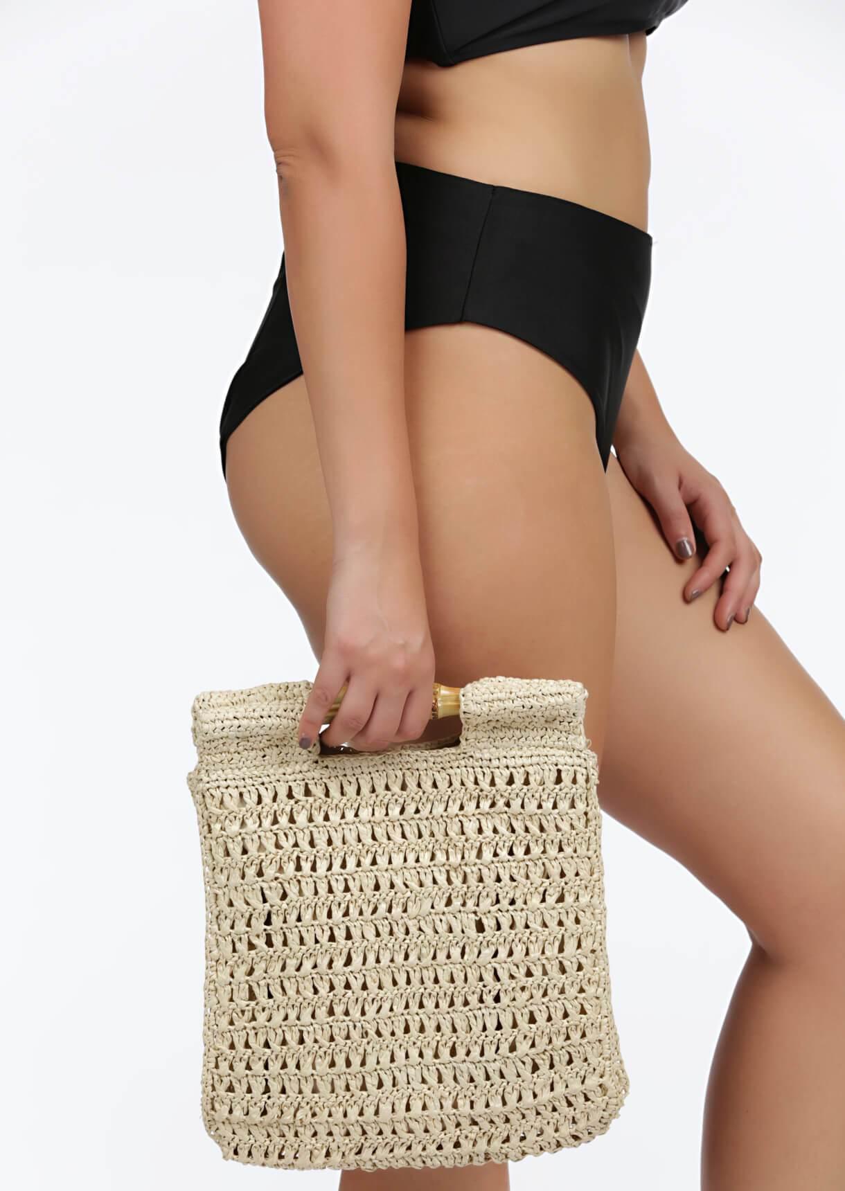 Impulse Fashion Accessories/ Gabby's Jewellery Cream Bamboo Handle Natural Bag