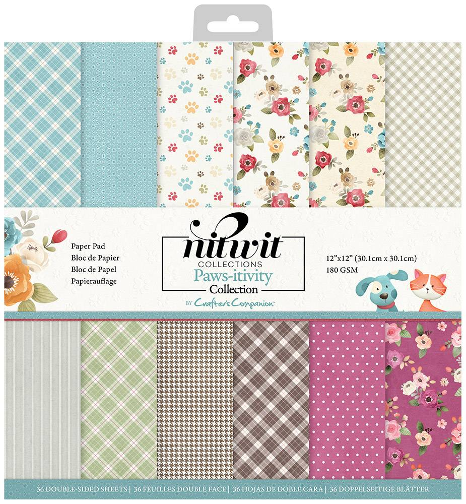 """Crafter's Companion Nitwit Pawsitivity 12""""x12"""" Patterned Paper Pad"""