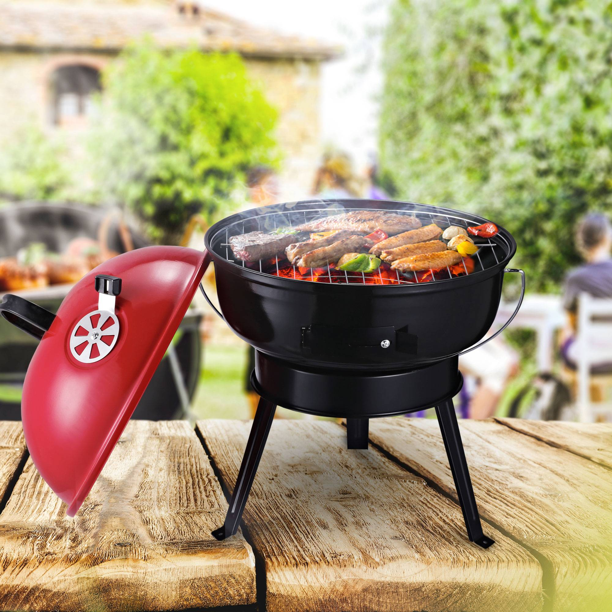Outsunny Metal Portable Tripod Charcoal BBQ Grill Black Red