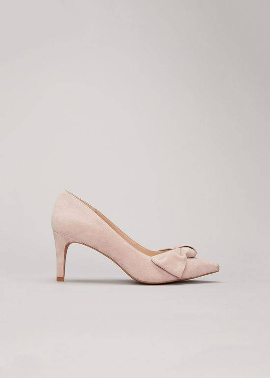 phase eight sim suede bow court shoe pink