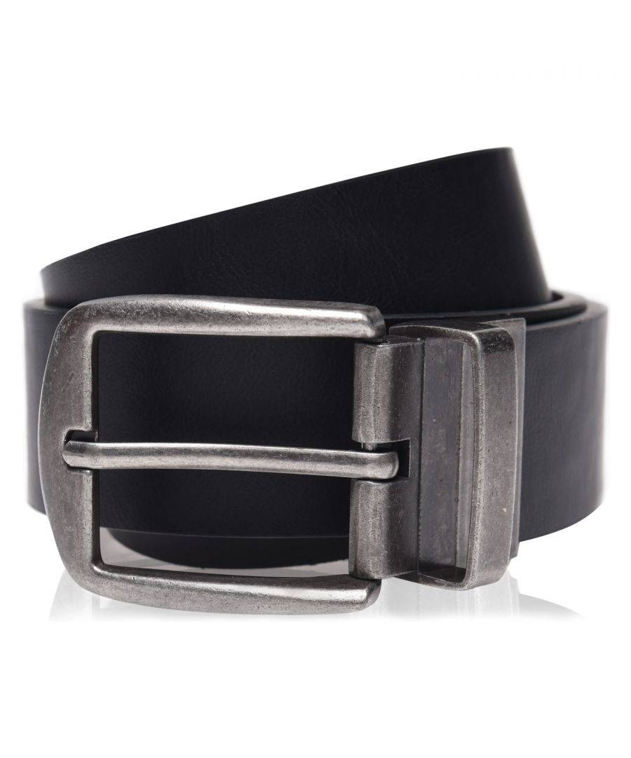 Firetrap Mens Reverse Belt Waistband Buckle Fashion Clothing Accessories - Black/Brown - Size S