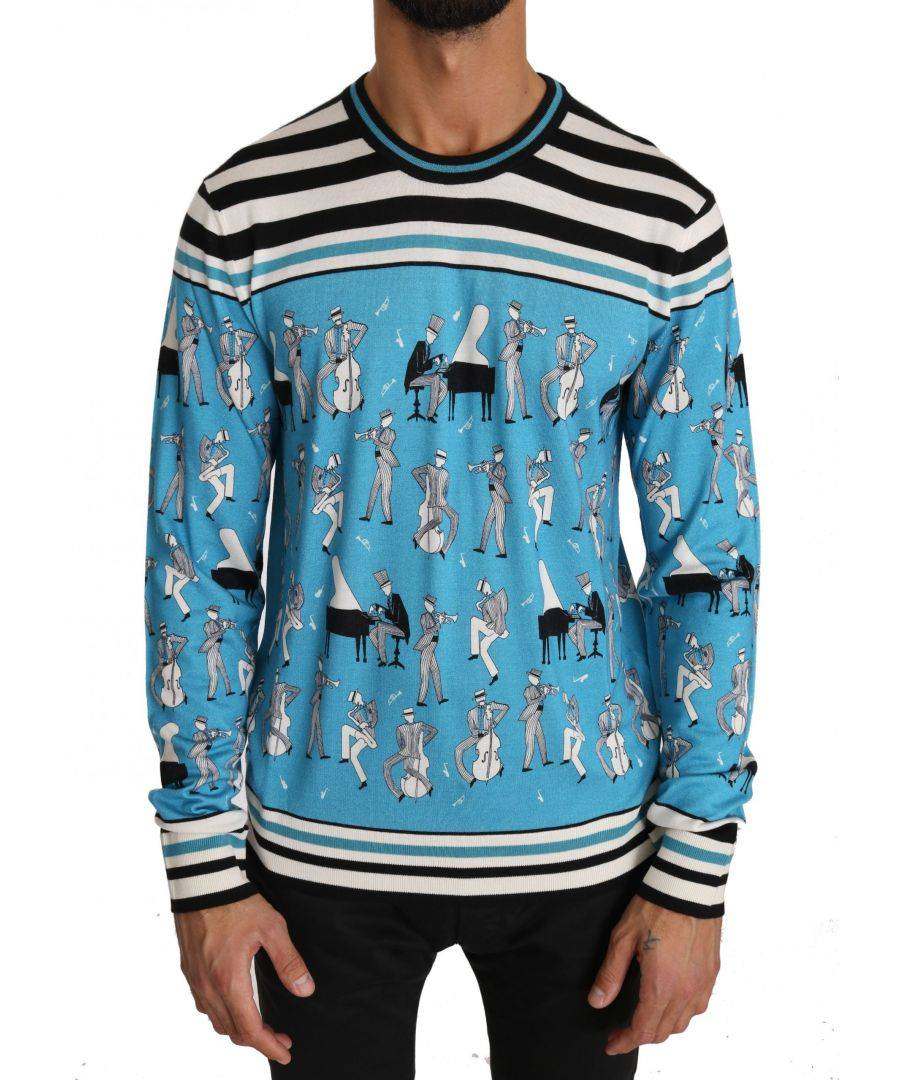 Dolce & Gabbana Blue Cashmere Silk Music Pullover Sweater  - Multicolour - Size: Small