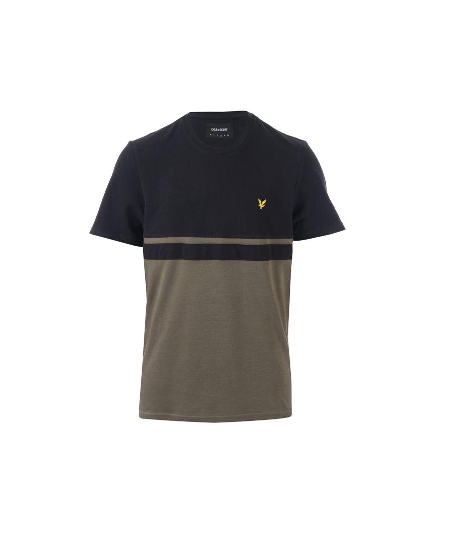 Scott Lyle & Scott Men's And Panel Stripe T-Shirt in black green  - Black - Size: Small