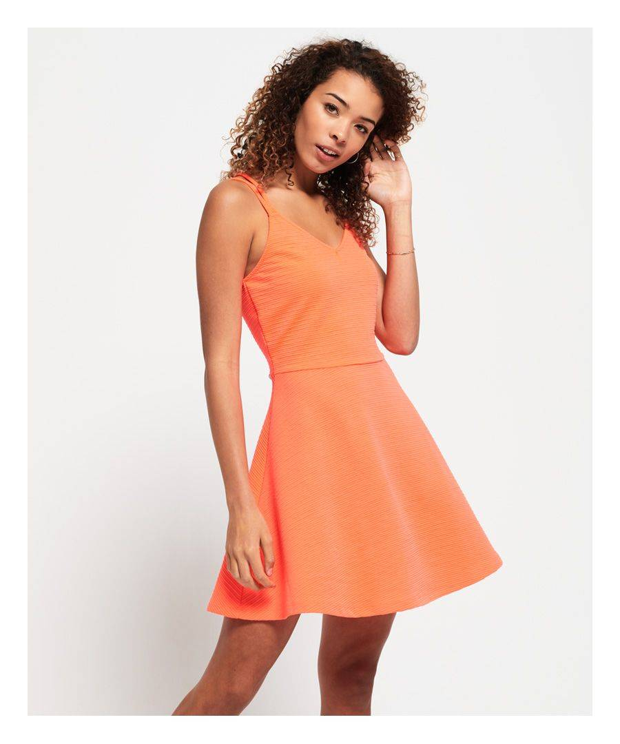 Superdry Textured Skater Cami Dress  - Coral - Size: 14