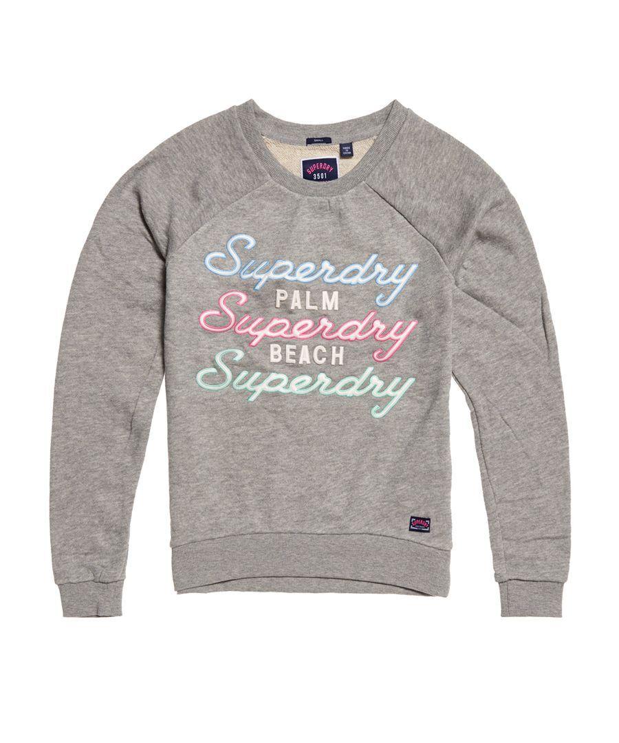 Superdry Applique Raglan Crew Sweatshirt  - Grey - Size: 12