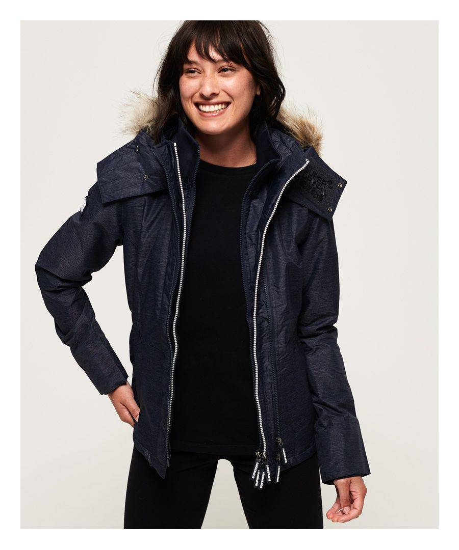 Superdry Hooded Faux Fur Winter SD-Windattacker Jacket  - Navy - Size: 8