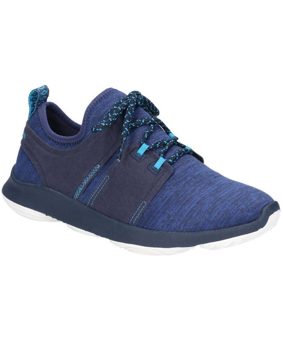 Hush Puppies Mens Geo Lace Up Flexible Casual Trainers  - Navy - Size: 5