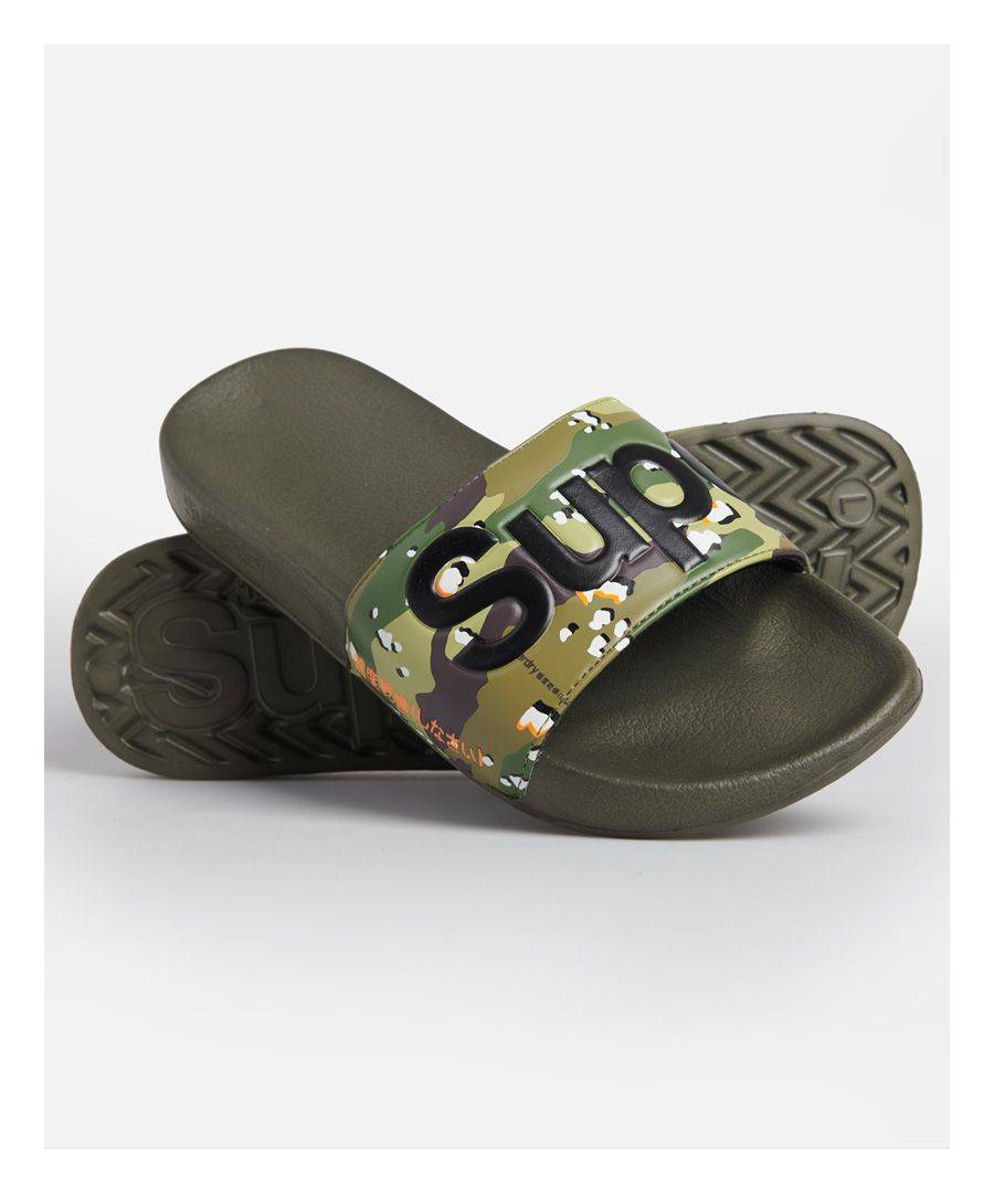 Superdry Classic Pool Sliders  - Green - Size: Small