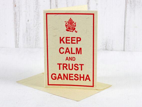 Scaramanga Keep Calm and Trust Ganesha Greeting Card  Medium