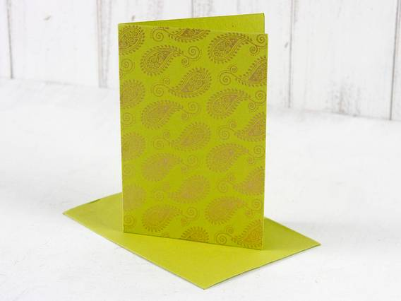 Scaramanga Lime Green Paisley Greeting Card  Medium