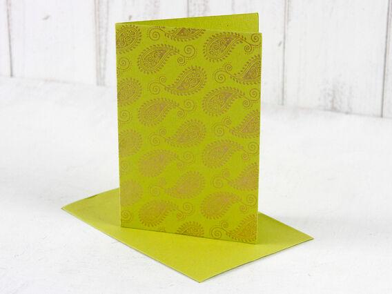 Scaramanga Lime Green Paisley Greeting Card  Medium