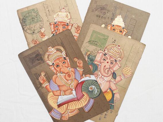 Scaramanga Hand-painted Vintage Indian Postcard - Ganesha