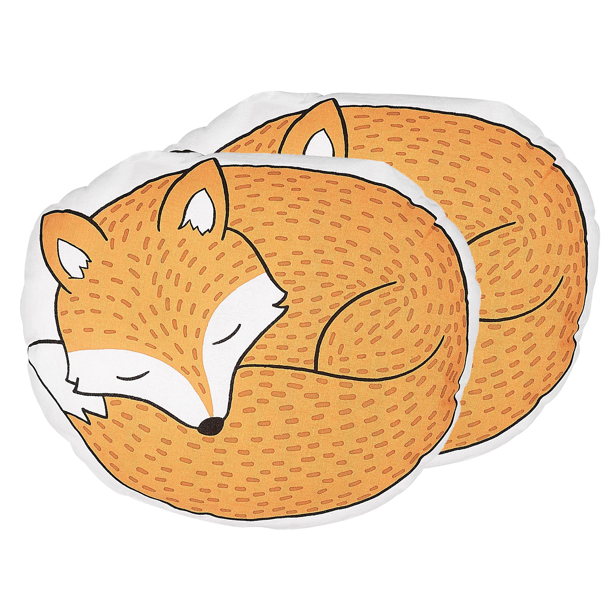Beliani Set of 2 Kids Cushions Fox 50 x 40 cm Orange DHANBAD