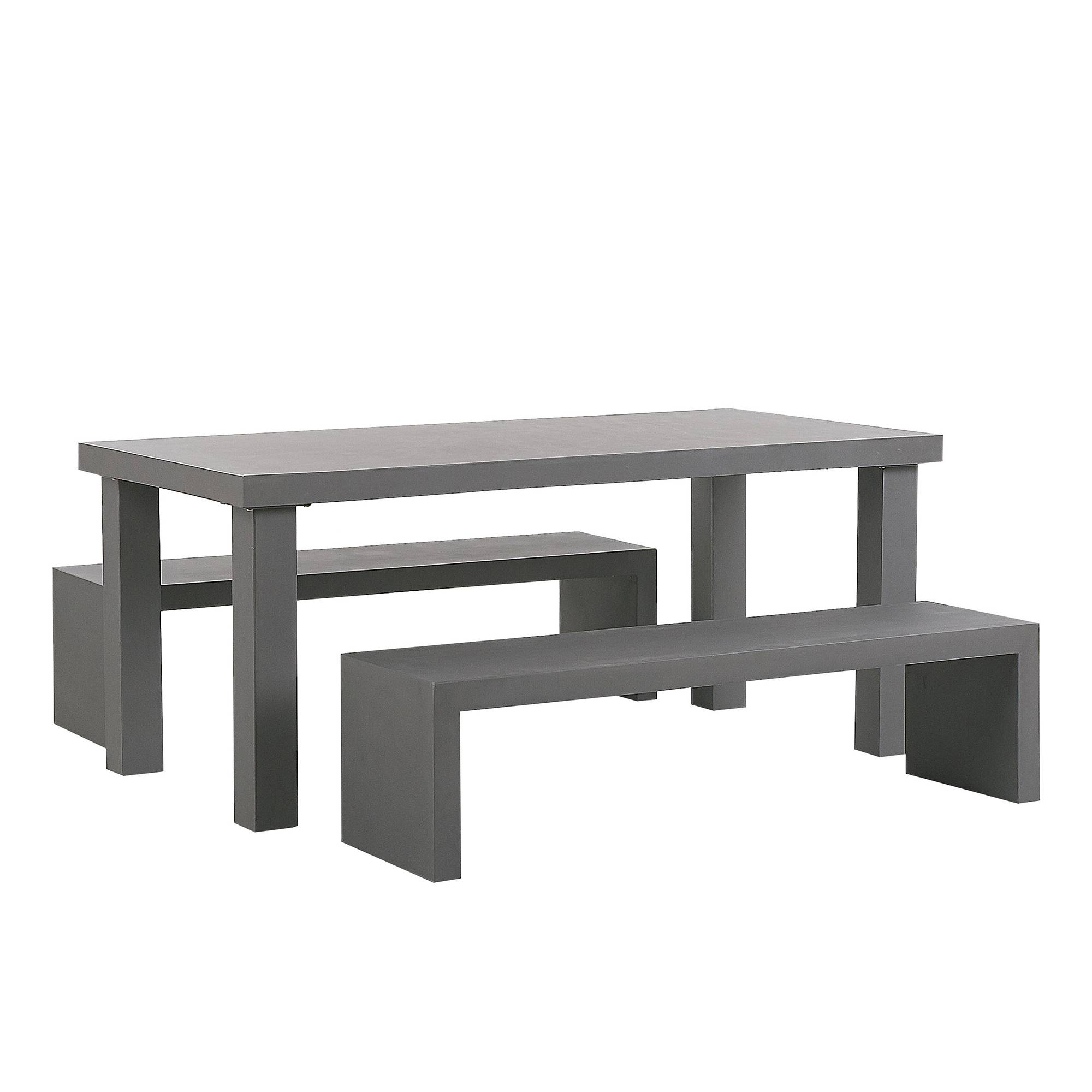 Beliani 3 Piece Garden Outdoor Concrete Dining Set Grey Table 2 Benches Taranto