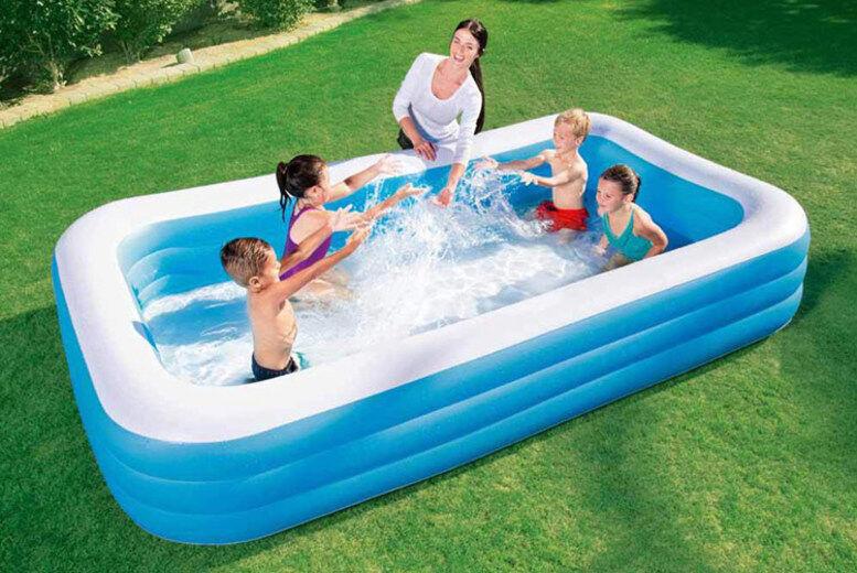 Direct2Public Ltd Bestway Rectangular Family Swimming Pool - 3 Sizes   Wowcher