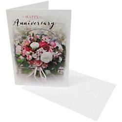 Unbranded Greeting Card Anniversary Happy Anniversary 6 Pieces  - White