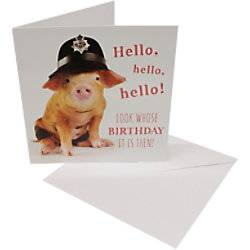 Greeting Card Birthday Pig 6 Pieces  - White