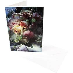 Greeting Card With Sympathy Roses 6 Pieces  - White