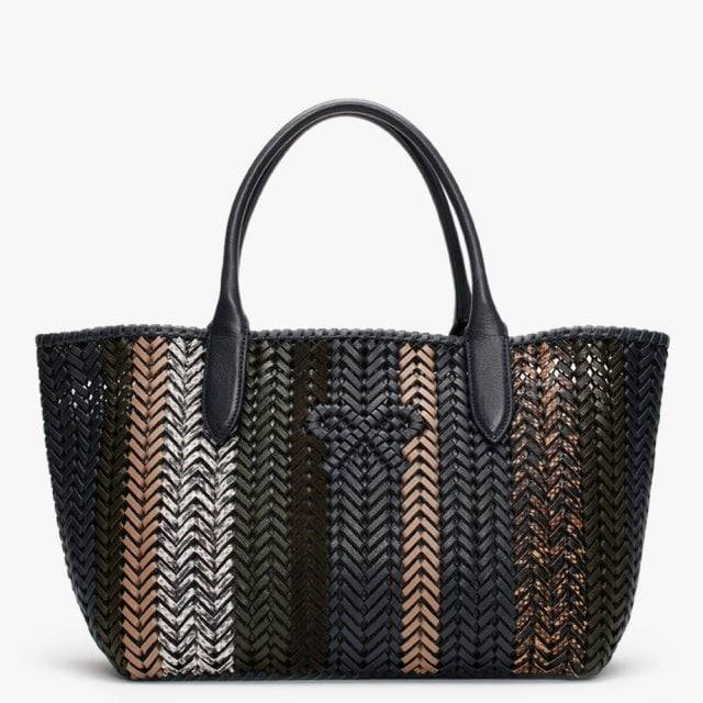 ANYA HINDMARCH Neeson Marine Stripes Leather Woven Tote Bag Accessorie - female - Navy Leather
