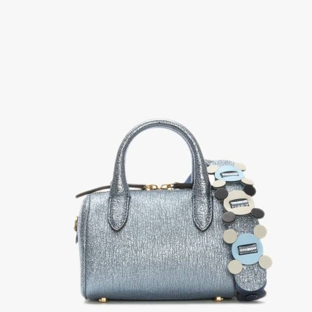 ANYA HINDMARCH Circulus Mini Vere Blue Metallic Leather Barrel Bag Acc - female - Blm