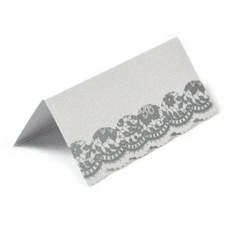 Party Porcelain 7 x Party Porcelain Place Card, Pack of 10, Silver - Brand New