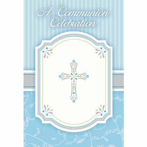 Amscan 5 x International Communion Blessing Blue Pack Postcard Invitations, Pack of 20, Brand New