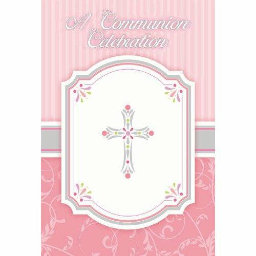 Amscan 6 x International Communion Blessing Pink Pack Postcard Invitations, Pack of 20, Brand New