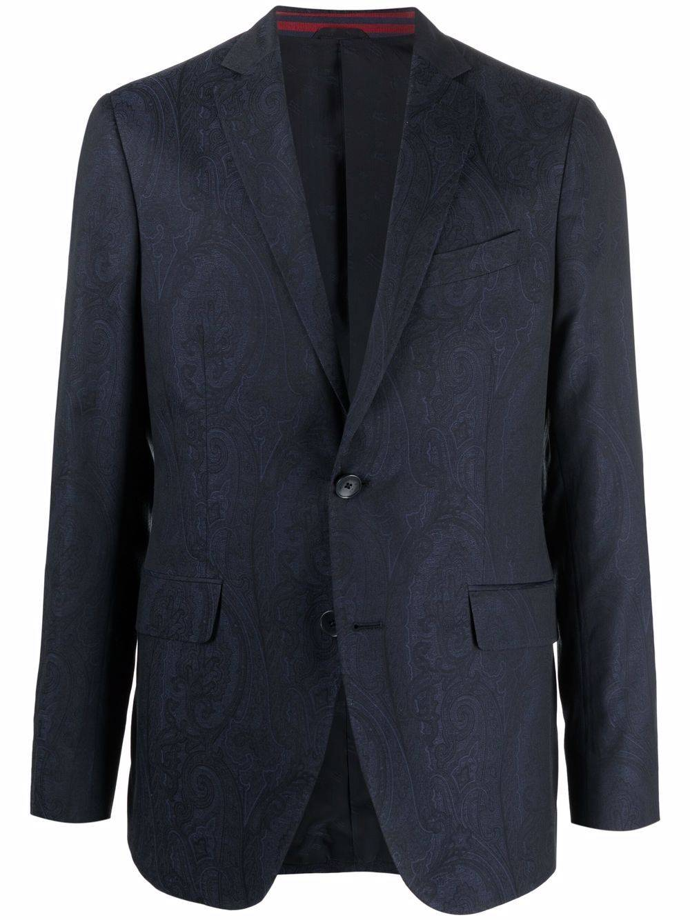 ETRO paisley pattern single-breasted blazer - Blue -Male