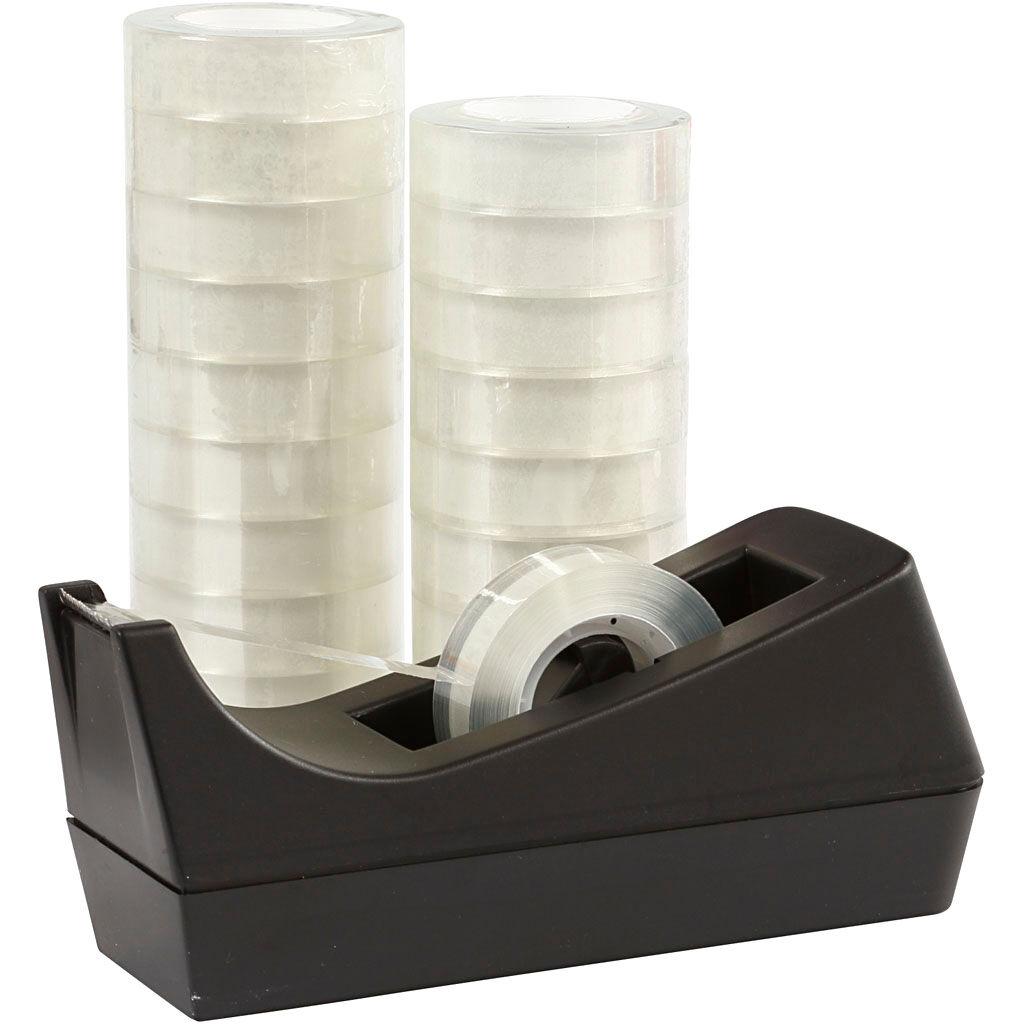 Creativ Company Desk Tape Dispenser and Adhesive Tape, W: 15 mm, 1 set