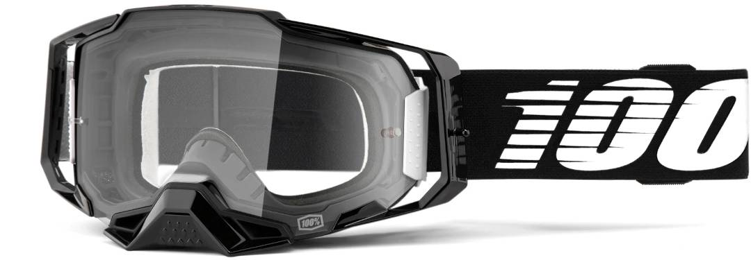 100% Armega Motocross Goggles  Black White Size:
