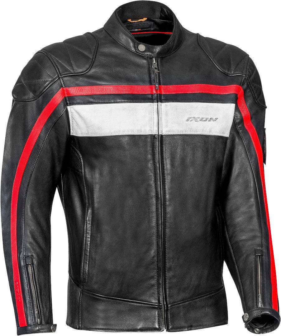 ixon pioneer motorcycle leather jacket black white red
