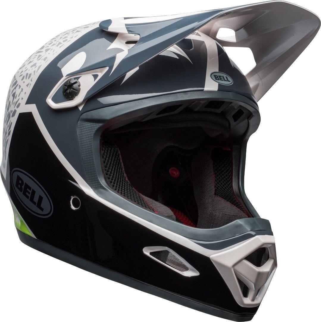 bell transfer 9 downhill helmet black white green