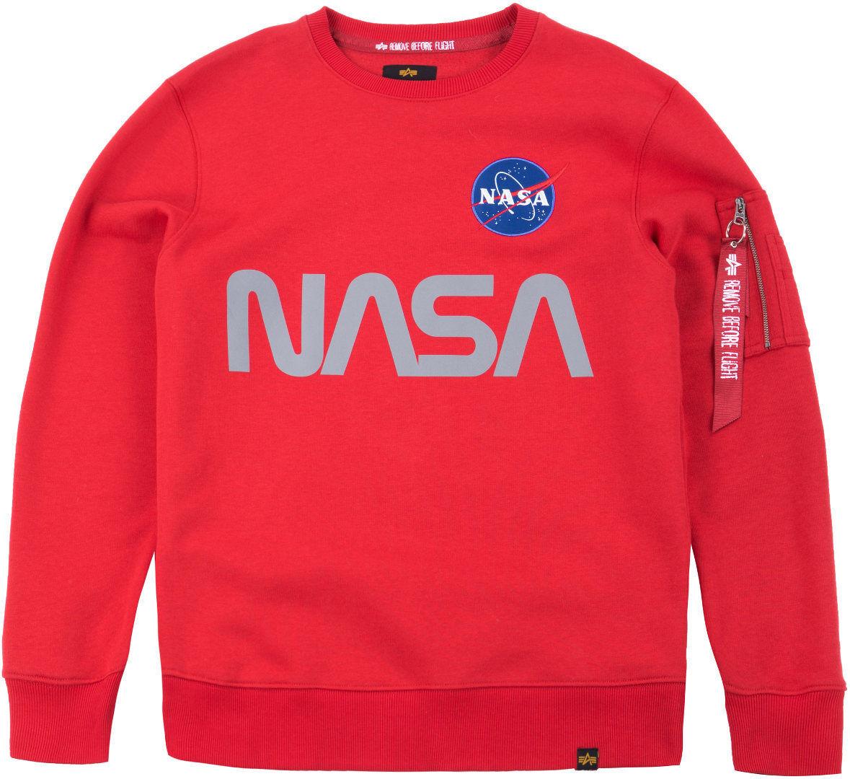 alpha industries nasa reflective sweatshirt black silver m