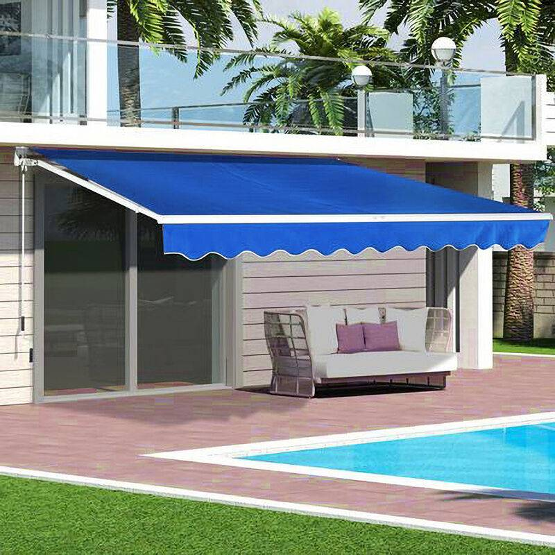 LIVINGANDHOME Blue Retractable DIY Manual Patio Awning Canopy Garden Shade Shelter, 300x250CM