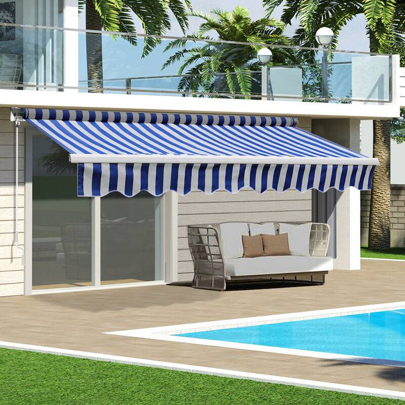 LIVINGANDHOME Blue&White Retractable DIY Manual Patio Awning Canopy Garden Shade Shelter,