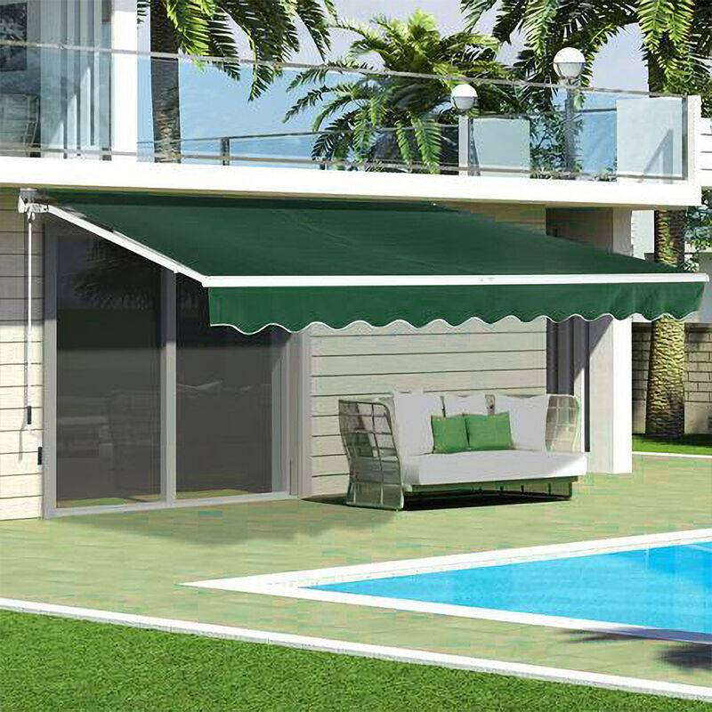 LIVINGANDHOME Green Retractable DIY Manual Patio Awning Canopy Garden Shade Shelter, 250x200CM