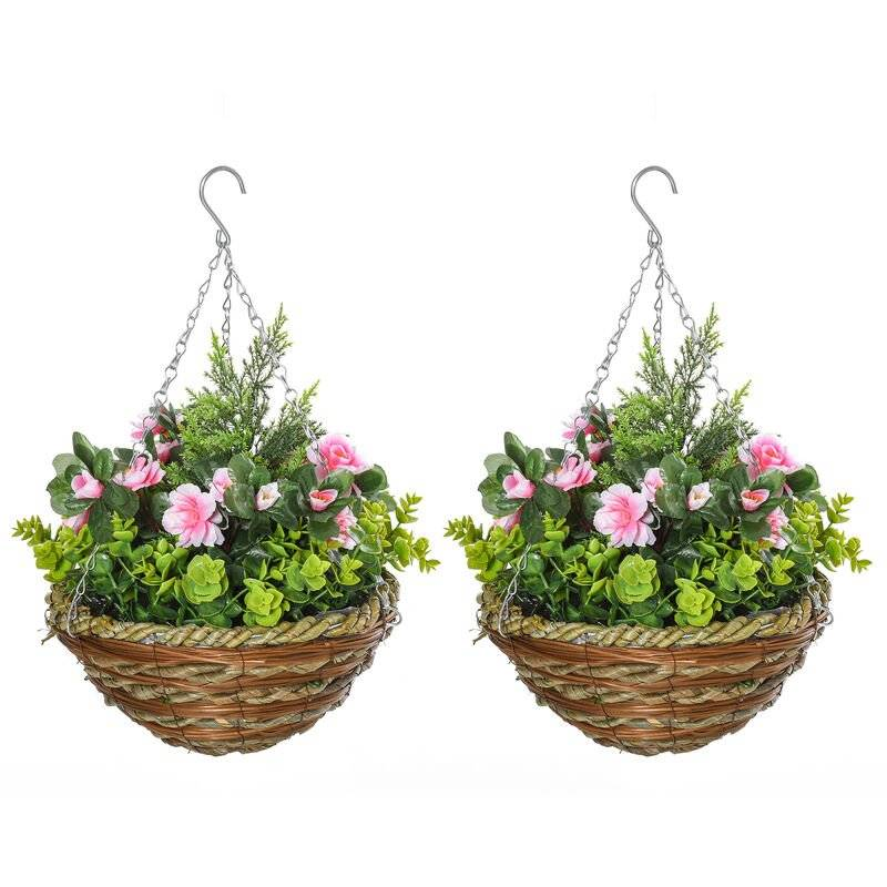 Outsunny 2 PCs Artificial Lisianthus Flower Hanging Planter Basket Home Garden