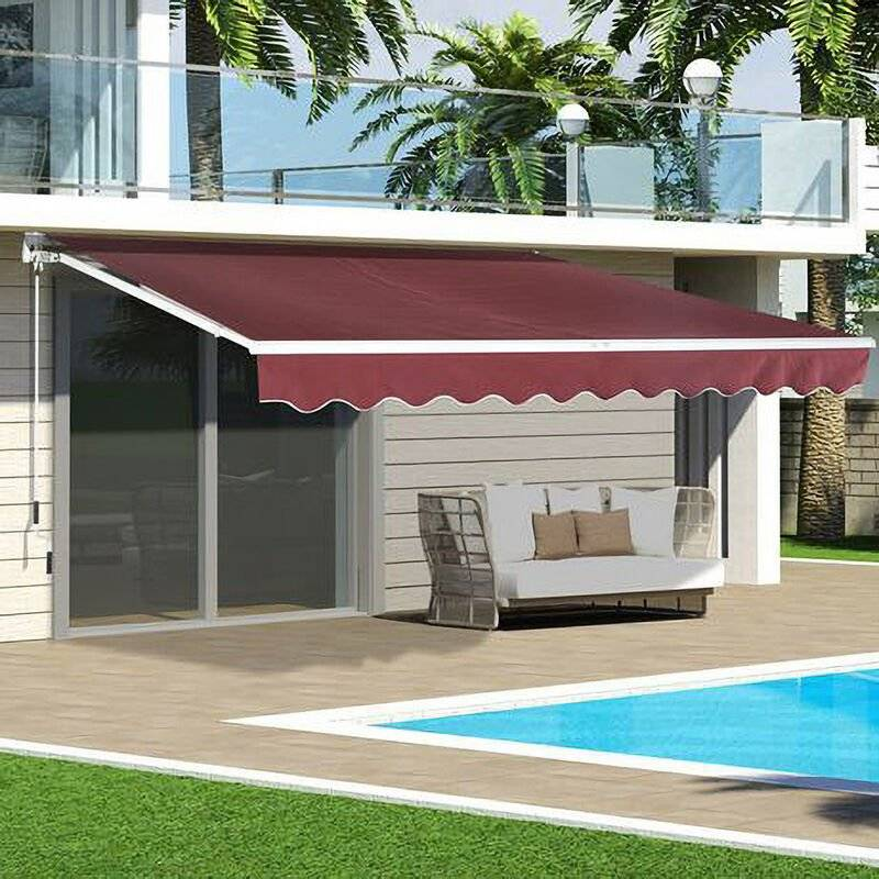 LIVINGANDHOME Outdoor Wine Red Retractable DIY Manual Patio Awning Canopy Garden Shade