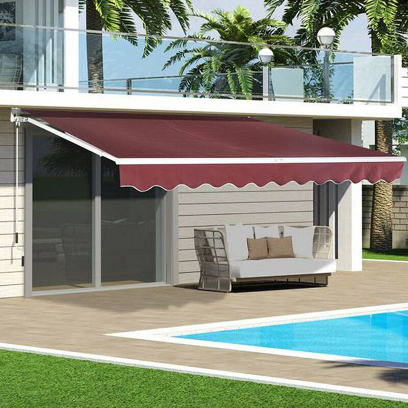 LIVINGANDHOME Wine Red Retractable DIY Manual Patio Awning Canopy Garden Shade Shelter,
