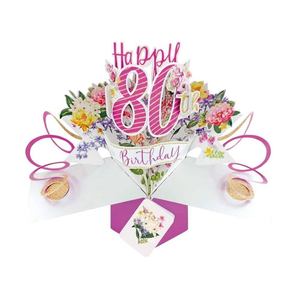 Second Nature Pop Ups Second Nature Female 80th Birthday Pop Up Card with Flowers