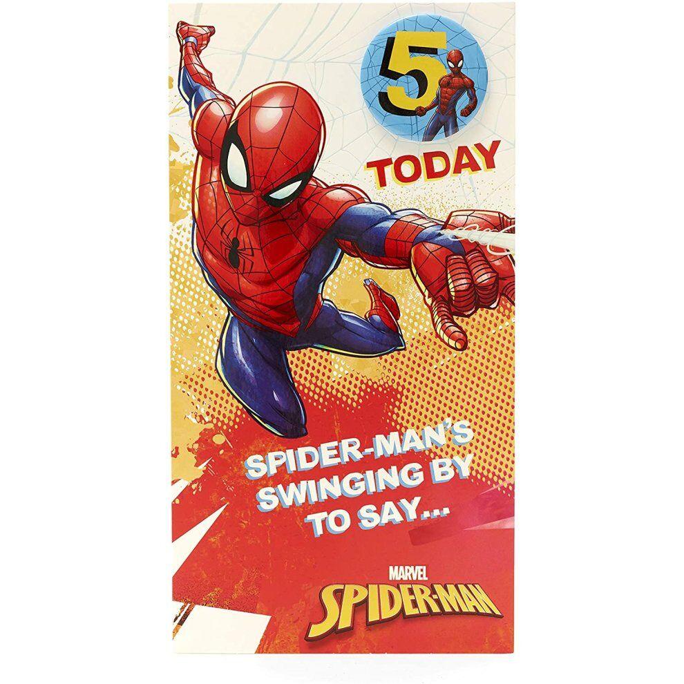UK Greetings Age 5 Birthday Card - Spiderman Birthday Card with Spiderman Birthday Badge, 5th