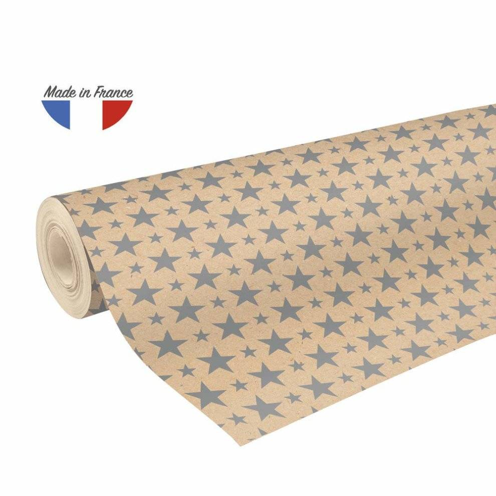 Clairefontaine 50 m x 0.70 m Recycled Kraft Long Roll Wrapping Paper, Silver Sta