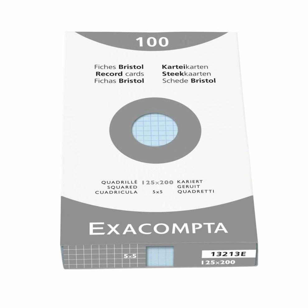 Exacompta 125 x 200 mm Bristol Squared Record Cards, Blue, Pack of 100