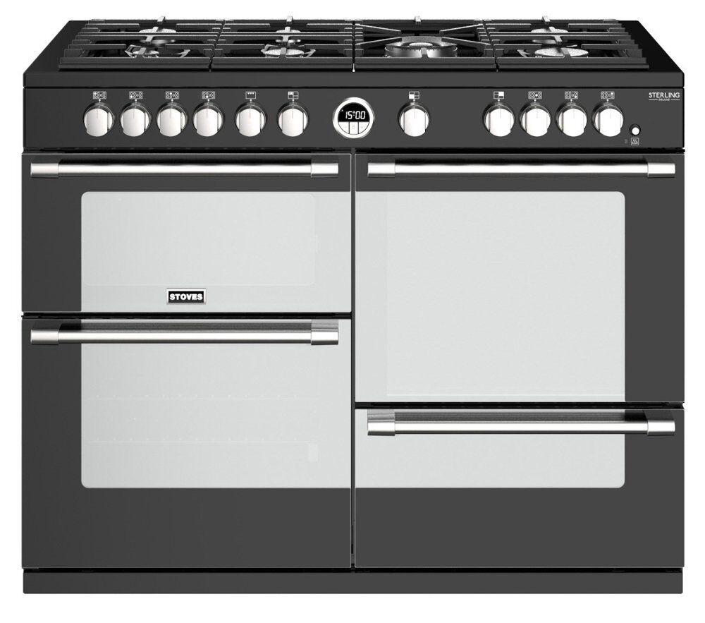 stoves richmond deluxe s1100g black 110cm gas range