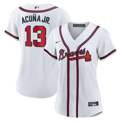"Nike """"""Women's Nike Ronald Acuna Jr. White Atlanta Braves Home 2020 Replica Player Jersey"""""""